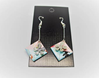 Square origami leaf earrings