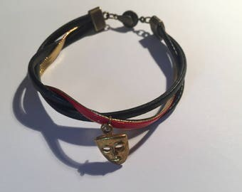 Bronze effect red gold and black leather clasp multi-link bracelet