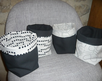 storage baskets, black and white, and graphics