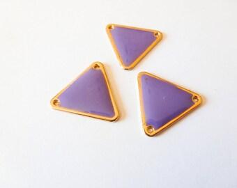3 connectors 18 * 20mm gold tone and purple epoxy (SFBD15) triangle