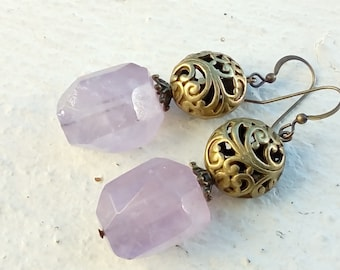 Amethyst faceted - vintage style earrings