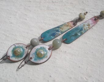 Enameled copper - stone and glass earrings