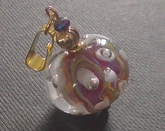 Pendant White Arum - glass bead spun (matching earrings)