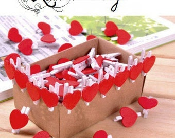 10 small clips red 35 * 20mm Whitewood and hearts