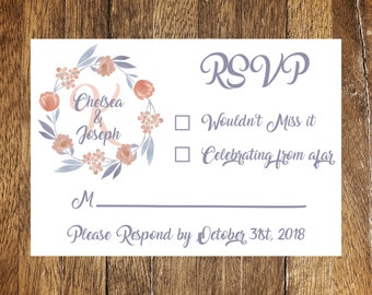 Purple and Coral Watercolor Floral Wedding RSVP Card