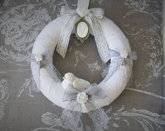 Shabby chic linen and lace wreath