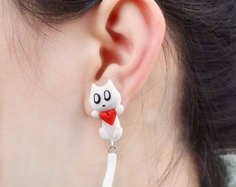 Polymer Clay Lovely Cartoon Heart Stud Earring For Women Girl Animal Earrings Jewelry 2017 New Style 4272