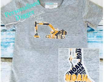 Personalised Digger Printed Name Kids & Baby Birthday Gift T-shirt, One-piece, Romper, Bodysuit, Onesie, Custom Made Print