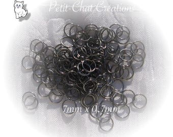 "200 rings 7 MM x 0.7 MM gray ""HEMATITE"" black METAL safety chain carabiners * U15"