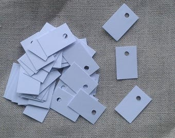Set of 100 mini tags price, thick white paper 2.3 x 1.5 cm