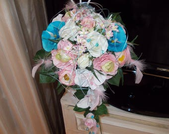 Pink and turquoise orchids and roses bridal bouquet for wedding