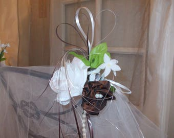 decorative wedding chocolate and white for the bride and groom chairs