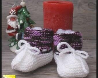 dark plum, purple and white baby knitted booties