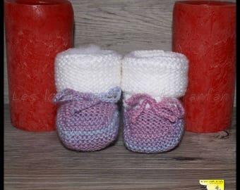 Multicolor slippers knitting pattern