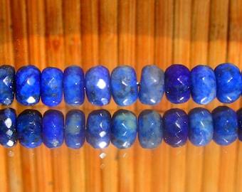 6 beads wheels faceted 8 mm x 5 mm Lapis Lazuli natural - Egypt - Grade A
