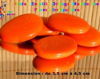 4 Pebble stone irregular shaped enamel Orange Tangerine 3.5 cm to 4.5 cm