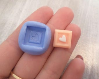 New! Small square 1.3 cm for various creations heart mold