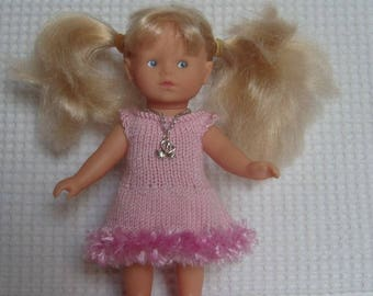 Pink ruffles and collar for mini Corolline, 20 cm doll dress