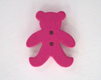 20mm x 10 bear wooden button: Rose Vif - 001874