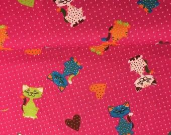 Multicolor cats fabric 100% cotton