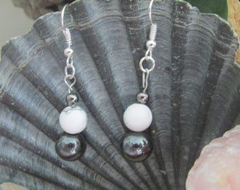HOWLITE and HEMATITE stone earrings