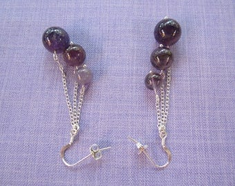 Earrings in 925 sterling silver and Amethyst beads