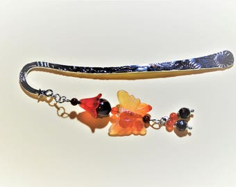 Rhodium plated and stainless steel bookmark with a kawaii carnelian / willpower and protection stones