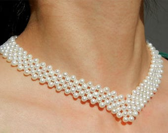 Pearl Necklace with cultured fresh water 5 rows custom crew neck white color