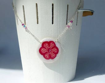Mid-long necklace cane pink flower and beads with reflections