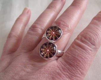CLEARANCE ring double cabochons rosasse multicolor