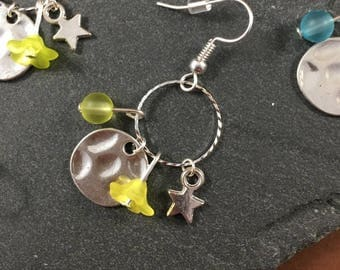 Yellow and silver charm earrings