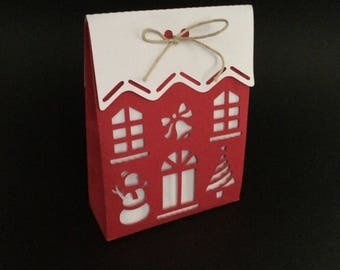 1 cut scrapbooking bag packing House Christmas tree snow snowman Bell die cut Holly deco paper