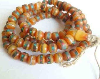 5 beads mala in beeswax for mediation and prayer 8 mm