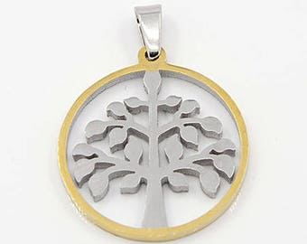 Pendant tree of life stainless steel Silver and gold