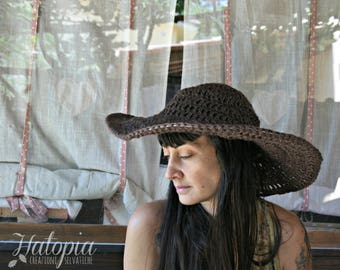 pitched wide crochet Hat