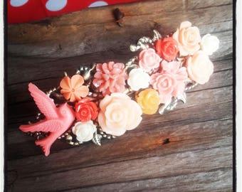 Orange and ivory flowers hair clip, wedding, vintage wedding hair accessory
