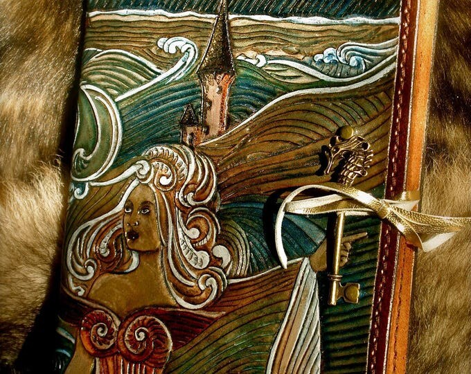 Tooled leather A5 travel sketchbook Ys breton myth legend