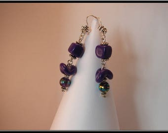 Earrings pearl purple polymer clay.