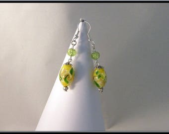 Italian style yellow and green glass bead earrings.