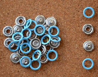 Bag of 20 snaps CLAWS for 11mm PASTEL blue