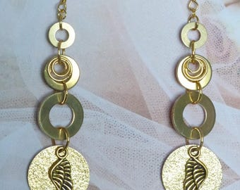 EARRINGS GOLDEN 4 WASHERS IN BRASS AND DISC WITH WING