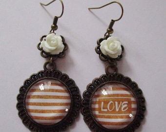 """Precious love II"" earrings dangle, bronze"