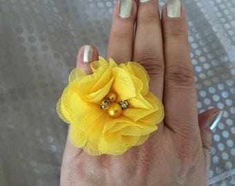Yellow chiffon flower ring