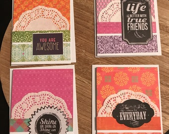 """Set of 4 A2 Blank Notecards 5.5"""" x 4.25"""" White Layered Just Because"""