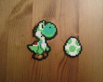 Pixel Art/beading - {universe Mario/Yoshi} - Yoshi and his egg