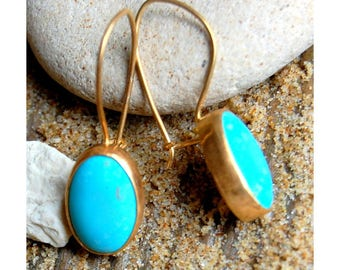 Earrings turquoise and gold brushed - plated gold 750/000