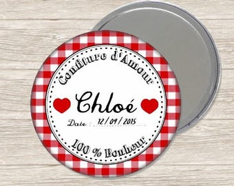 Mirror personalized birth 7.5 cm / name and date