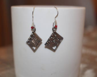 EARRINGS card postcards and metal beads