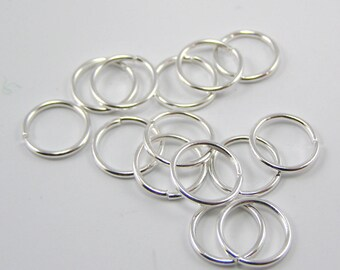 Set of 50 rings 10 mm silver opened 1 mm thick