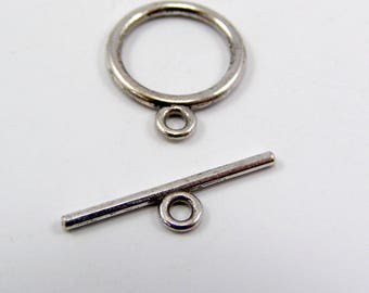 Set of 5 toggles 15 mm shank 21 mm silver color clasps